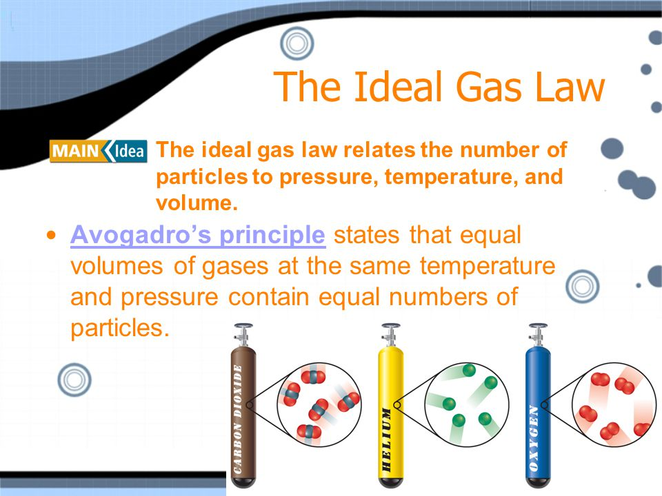 The Ideal Gas Law The ideal gas law relates the number of particles to pressure, temperature, and volume.