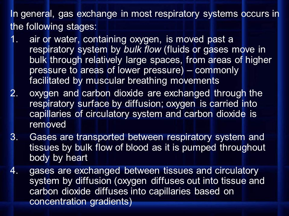 In general, gas exchange in most respiratory systems occurs in