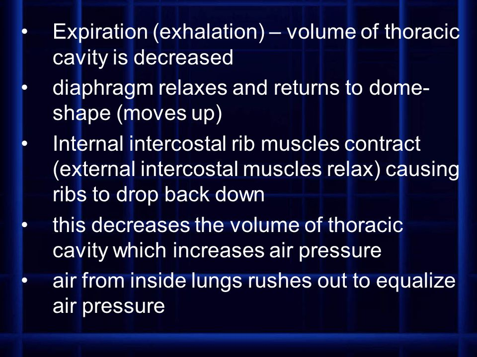 Expiration (exhalation) – volume of thoracic cavity is decreased