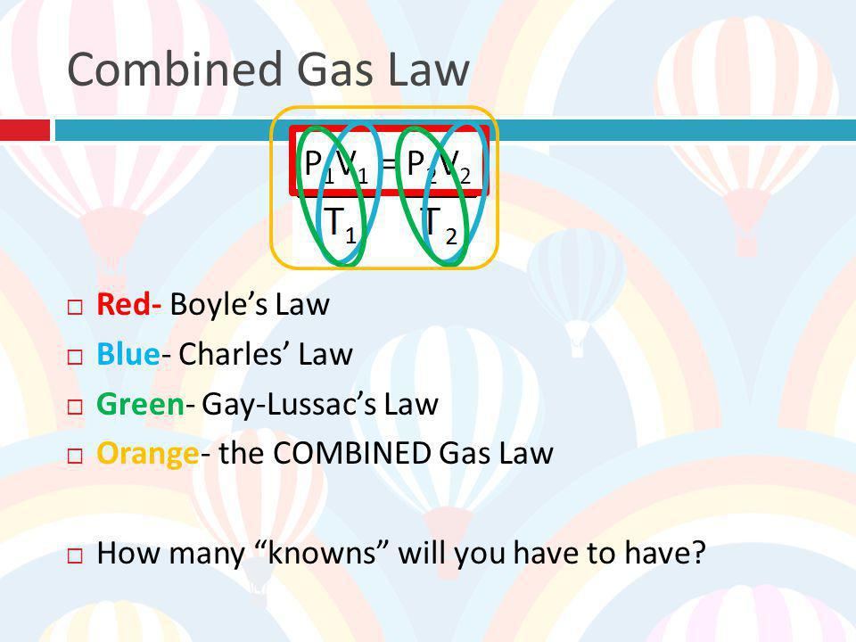 Combined Gas Law Red- Boyle's Law Blue- Charles' Law