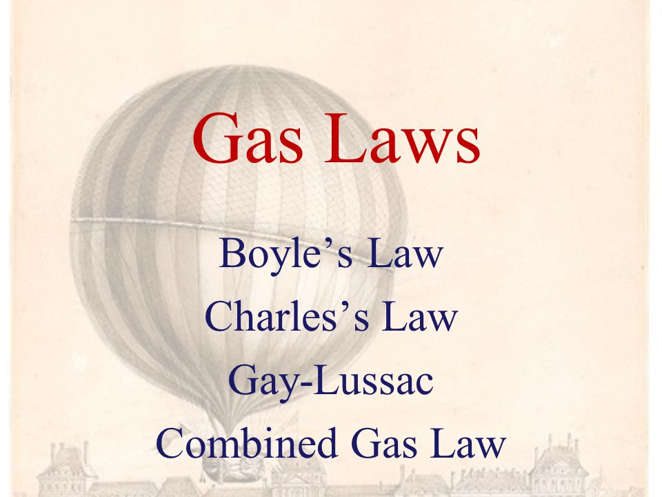 Boyle's Law Charles's Law Gay-Lussac Combined Gas Law