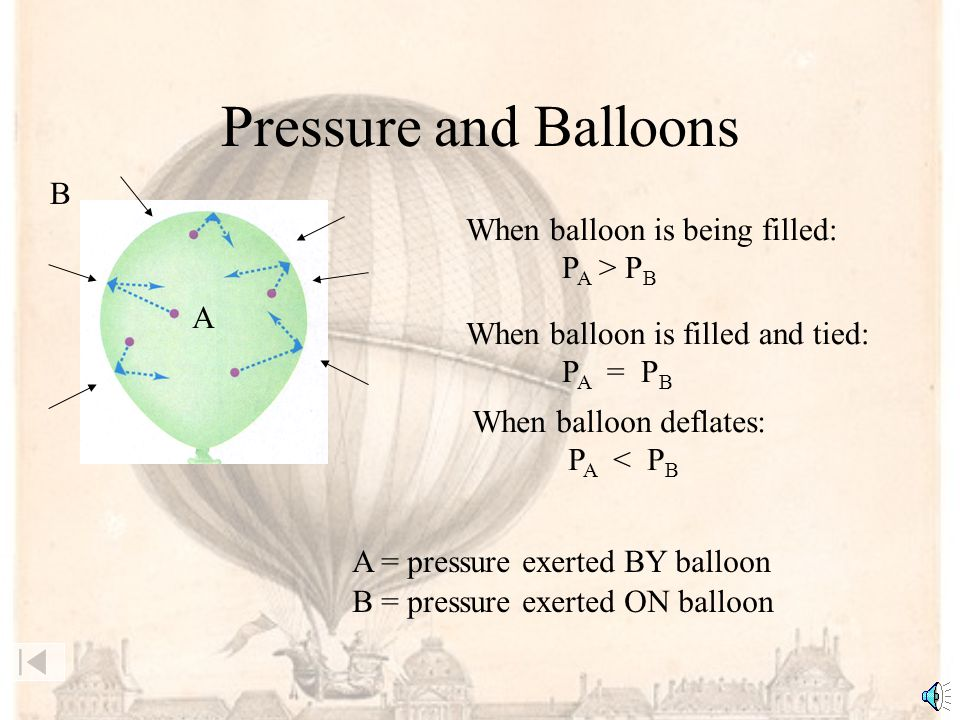 Pressure and Balloons B When balloon is being filled: PA > PB A