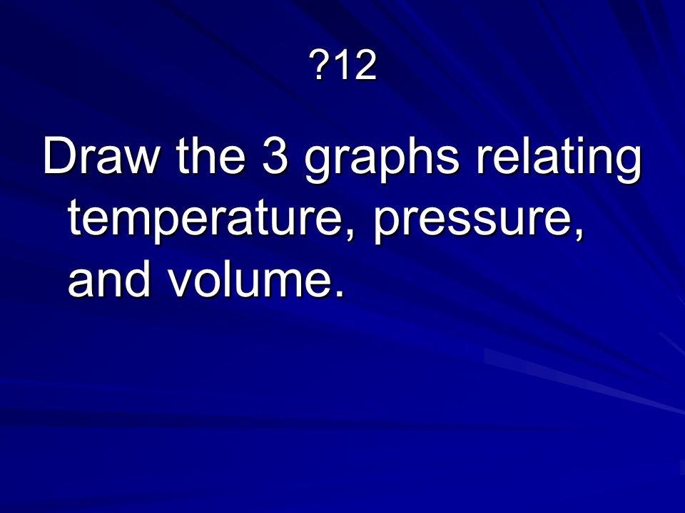 Draw the 3 graphs relating temperature, pressure, and volume.