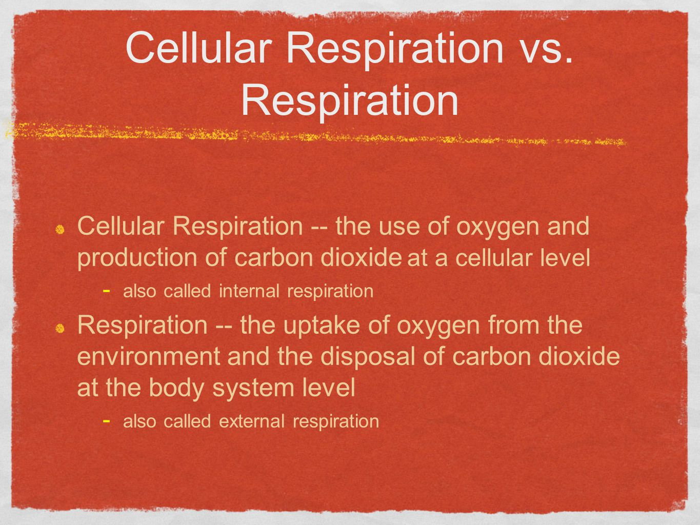Cellular Respiration vs. Respiration