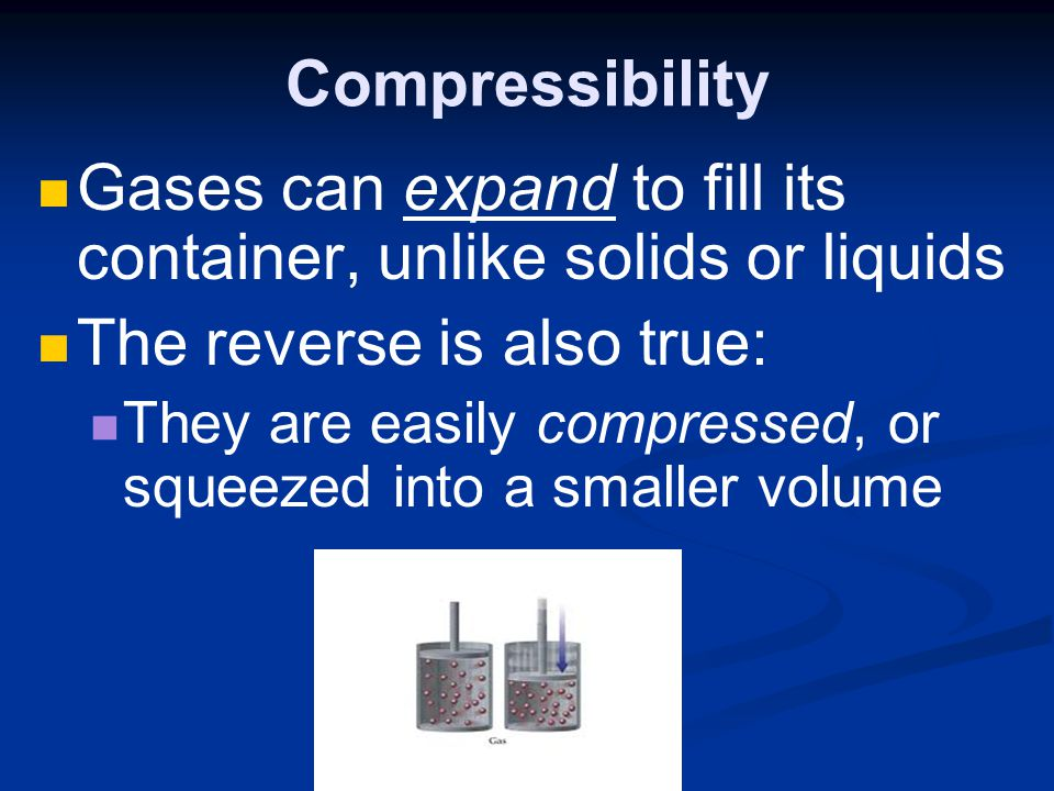 Gases can expand to fill its container, unlike solids or liquids
