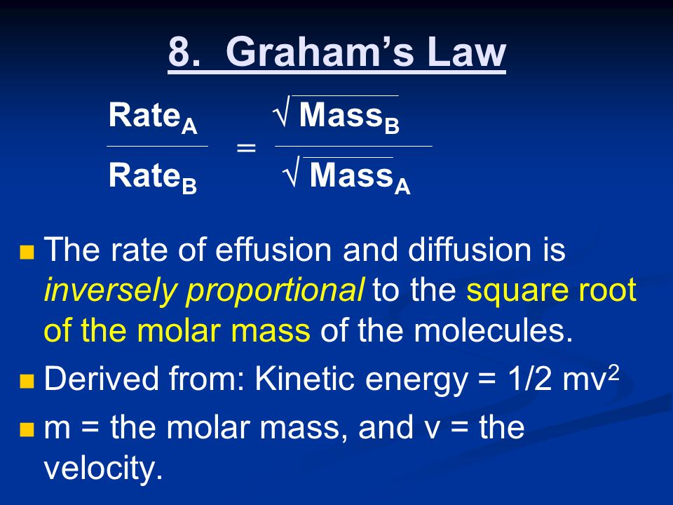 8. Graham's Law RateA  MassB RateB  MassA =