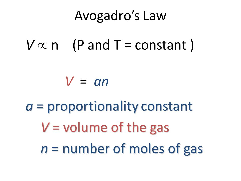 a = proportionality constant V = volume of the gas