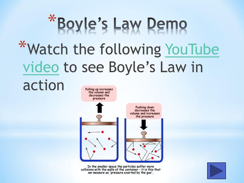 Boyle's Law Demo Watch the following YouTube video to see Boyle's Law in action