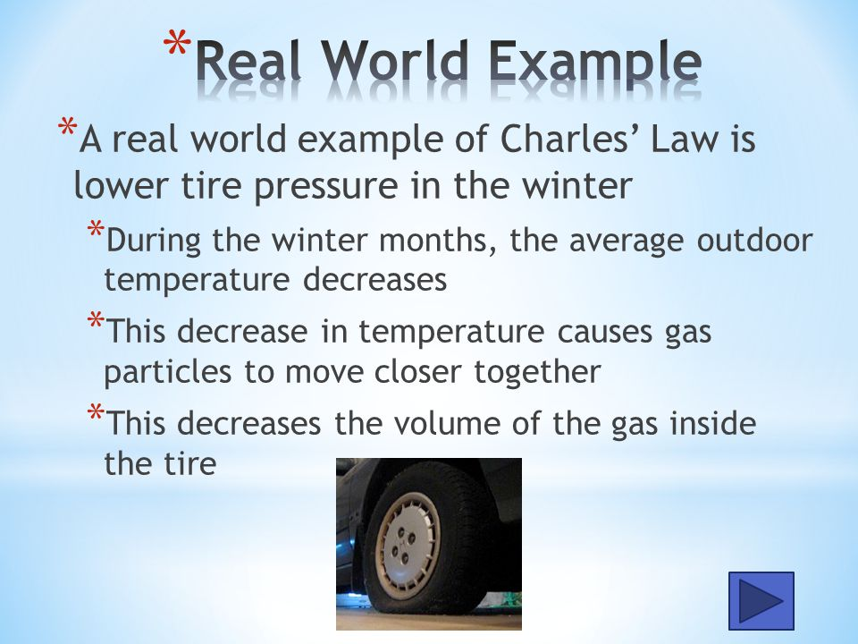 Real World Example A real world example of Charles' Law is lower tire pressure in the winter.