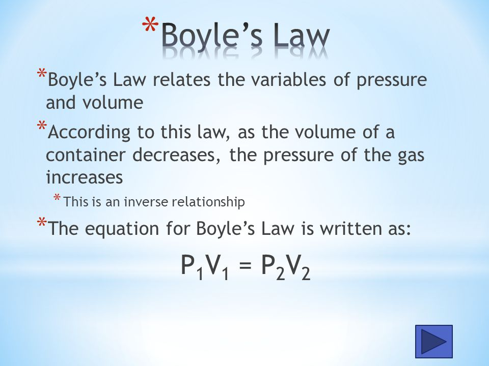 Boyle's Law Boyle's Law relates the variables of pressure and volume.