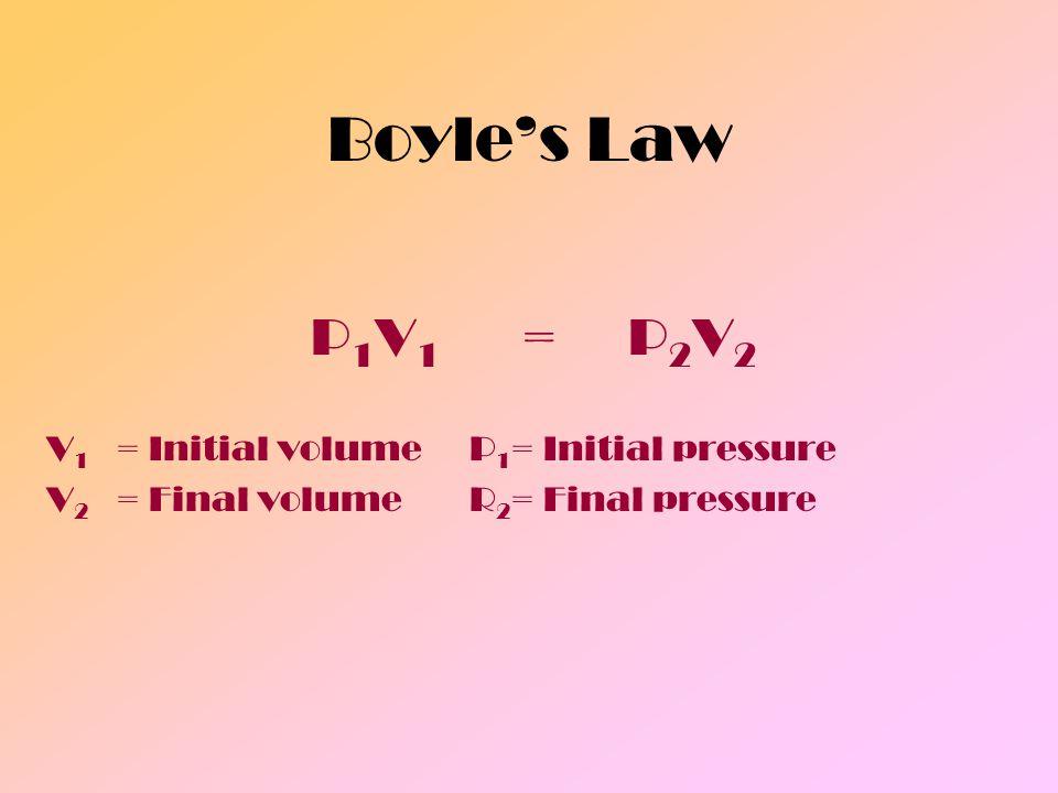 Boyle's Law P1V1 = P2V2 V1 = Initial volume P1= Initial pressure