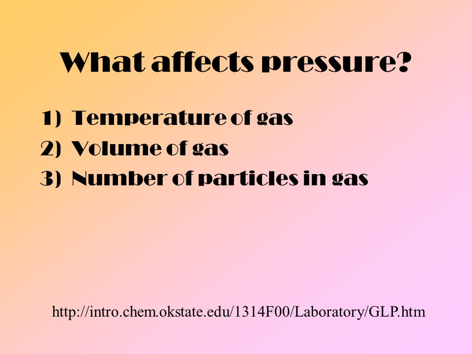 What affects pressure Temperature of gas Volume of gas