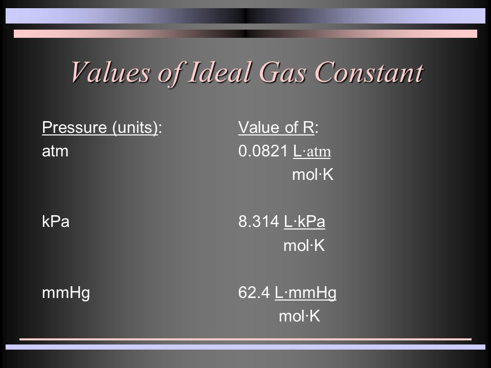 Values of Ideal Gas Constant