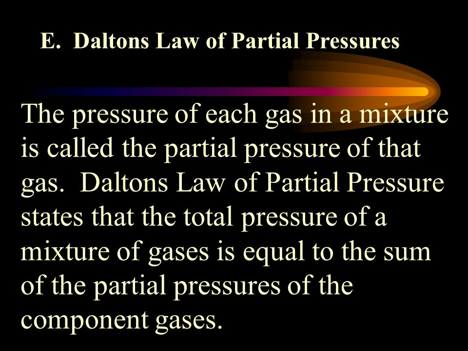 E. Daltons Law of Partial Pressures