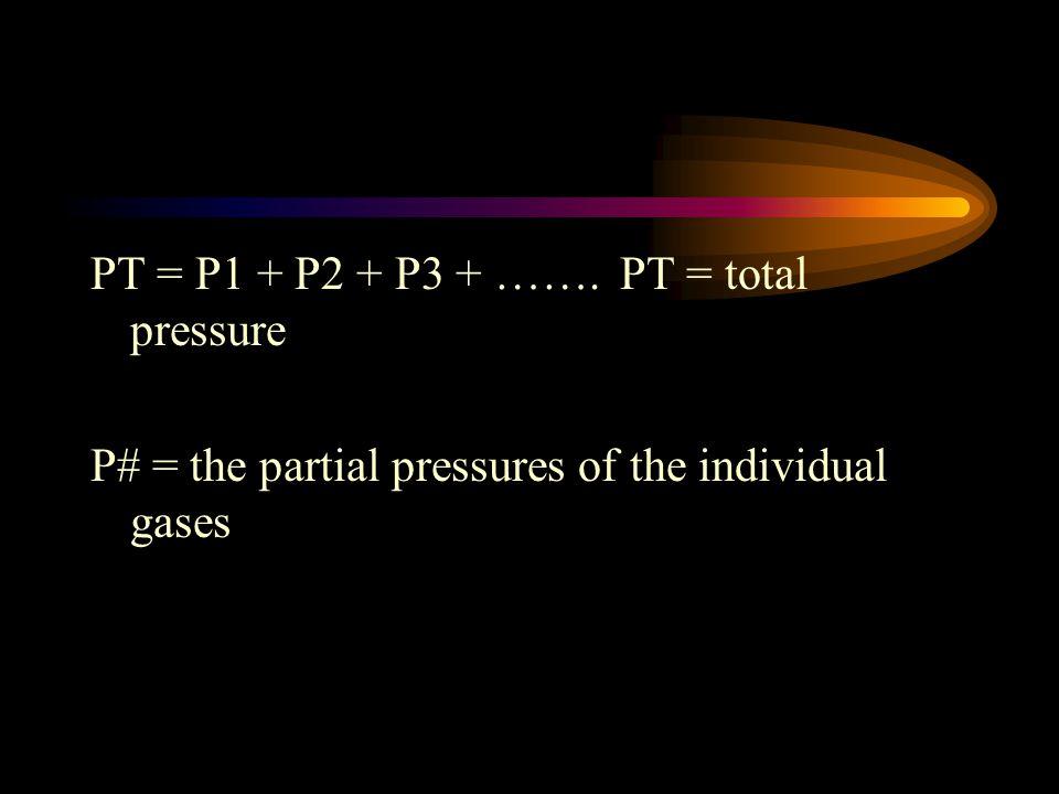 PT = P1 + P2 + P3 + ……. PT = total pressure