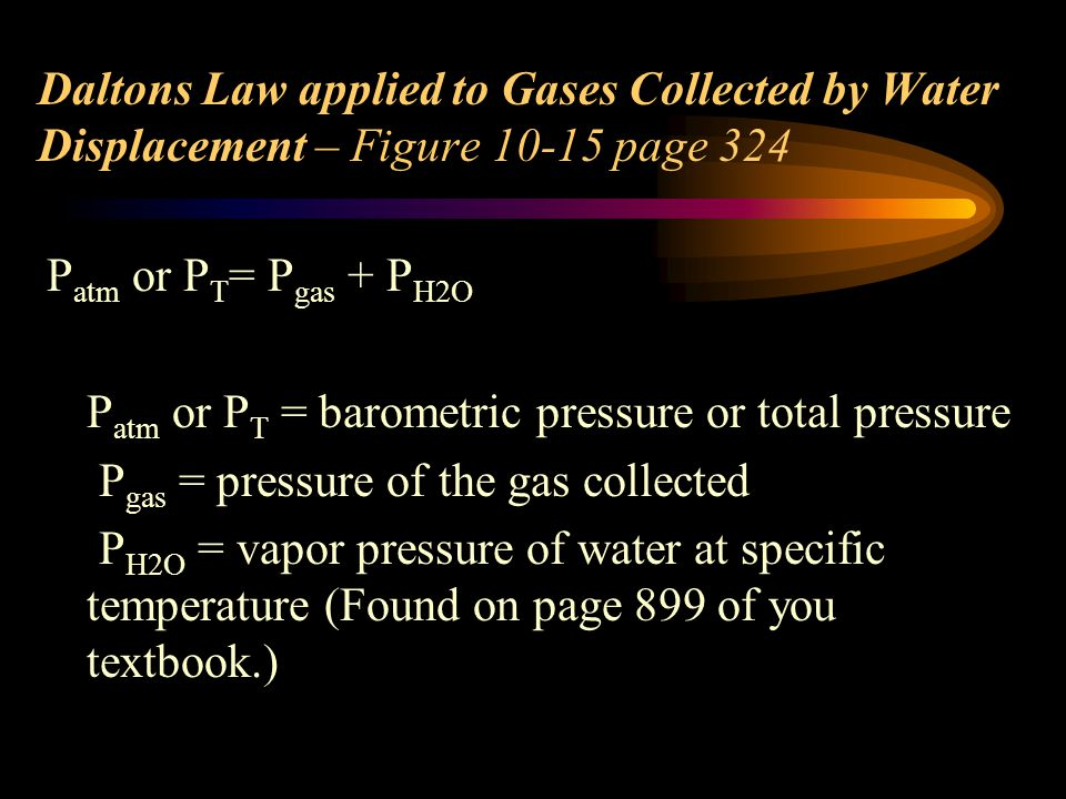 Daltons Law applied to Gases Collected by Water Displacement – Figure 10-15 page 324