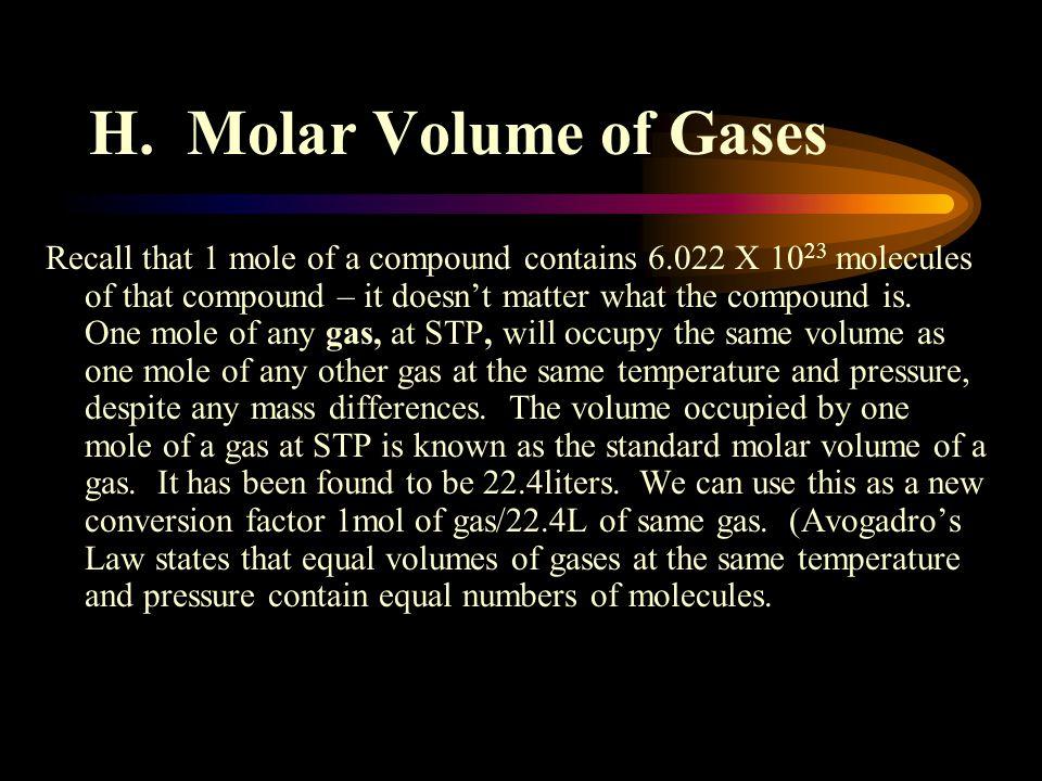 H. Molar Volume of Gases