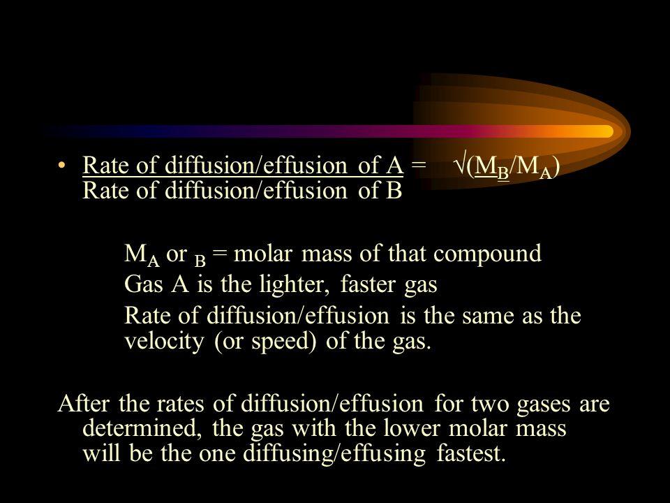 Rate of diffusion/effusion of A = √(MB/MA) Rate of diffusion/effusion of B