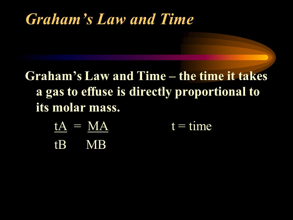Graham's Law and Time Graham's Law and Time – the time it takes a gas to effuse is directly proportional to its molar mass.