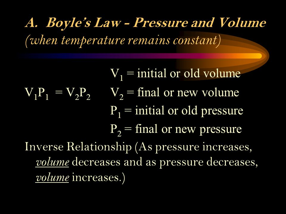 A. Boyle's Law - Pressure and Volume (when temperature remains constant)