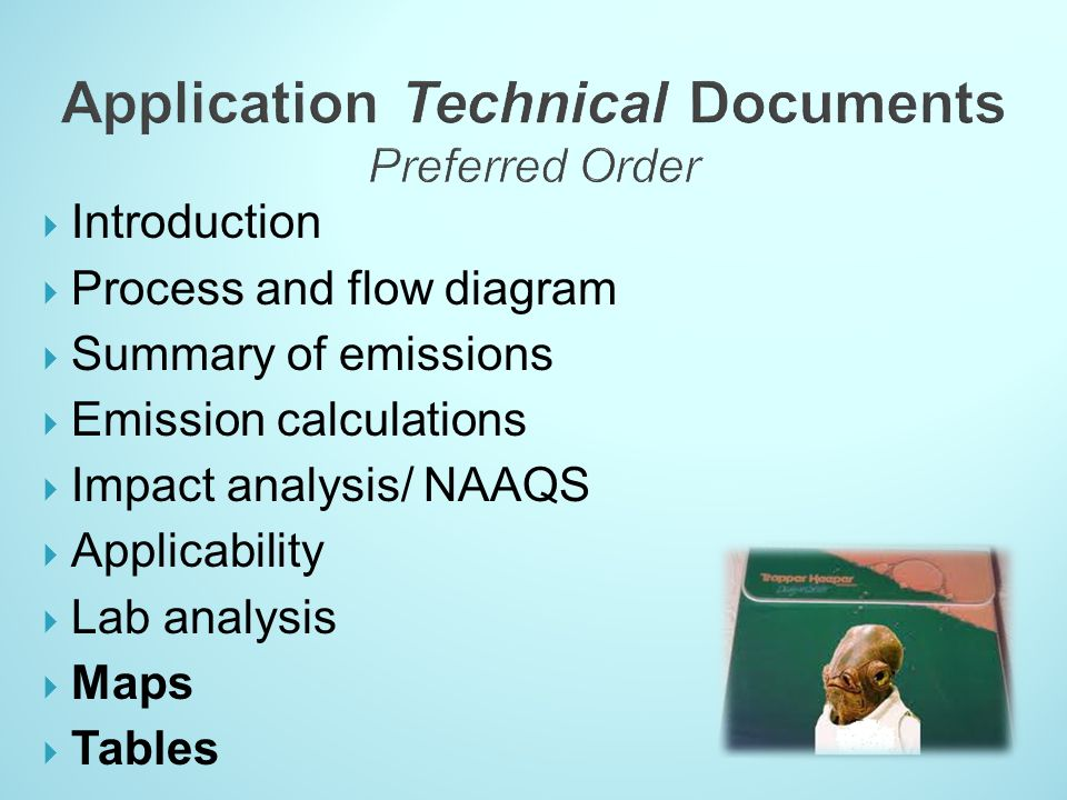 Application Technical Documents Preferred Order