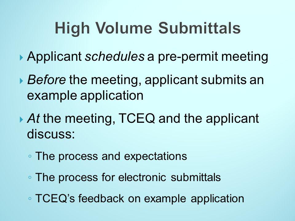 High Volume Submittals