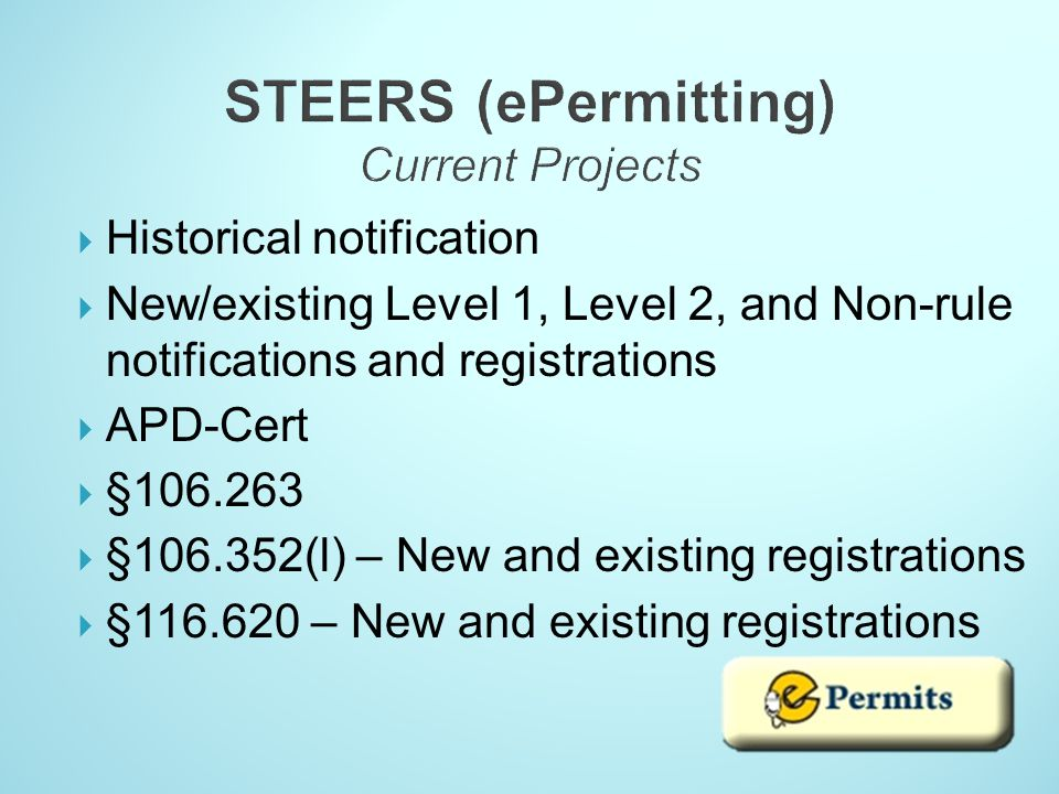 STEERS (ePermitting) Current Projects