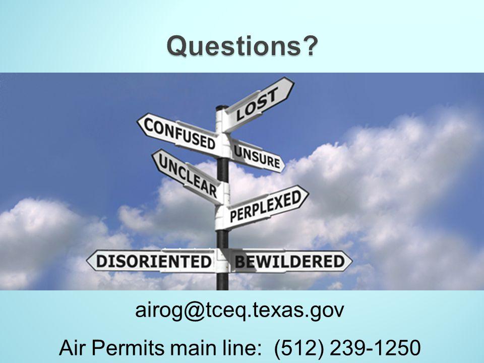 Air Permits main line: (512) 239-1250