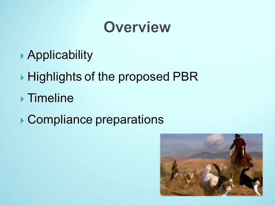 Overview Applicability Highlights of the proposed PBR Timeline