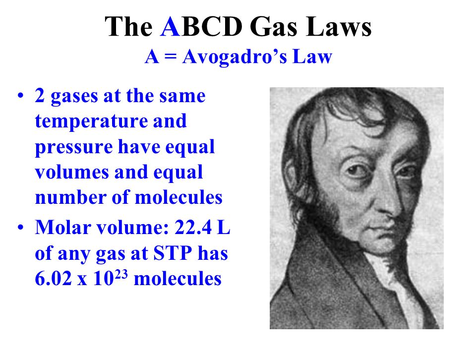 The ABCD Gas Laws A = Avogadro's Law