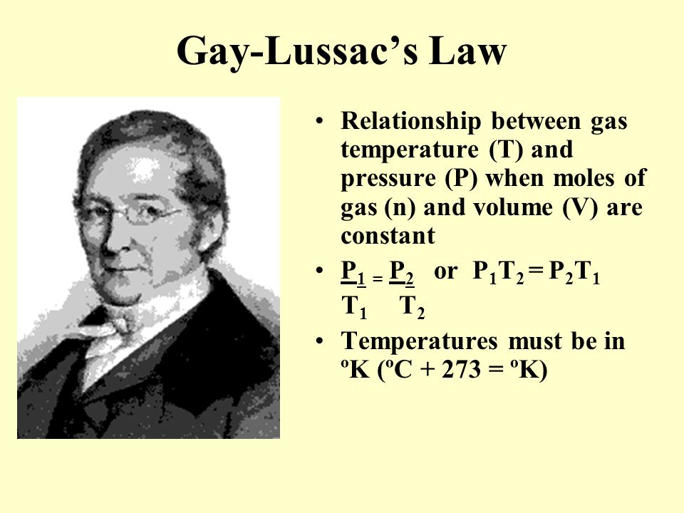 Gay-Lussac's Law Relationship between gas temperature (T) and pressure (P) when moles of gas (n) and volume (V) are constant.
