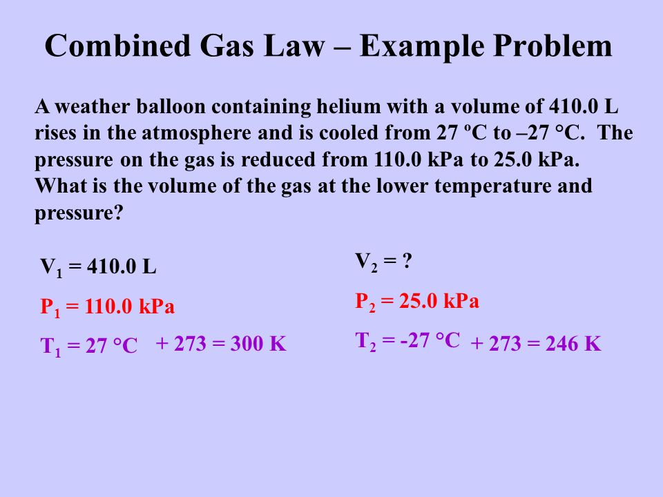 Combined Gas Law – Example Problem