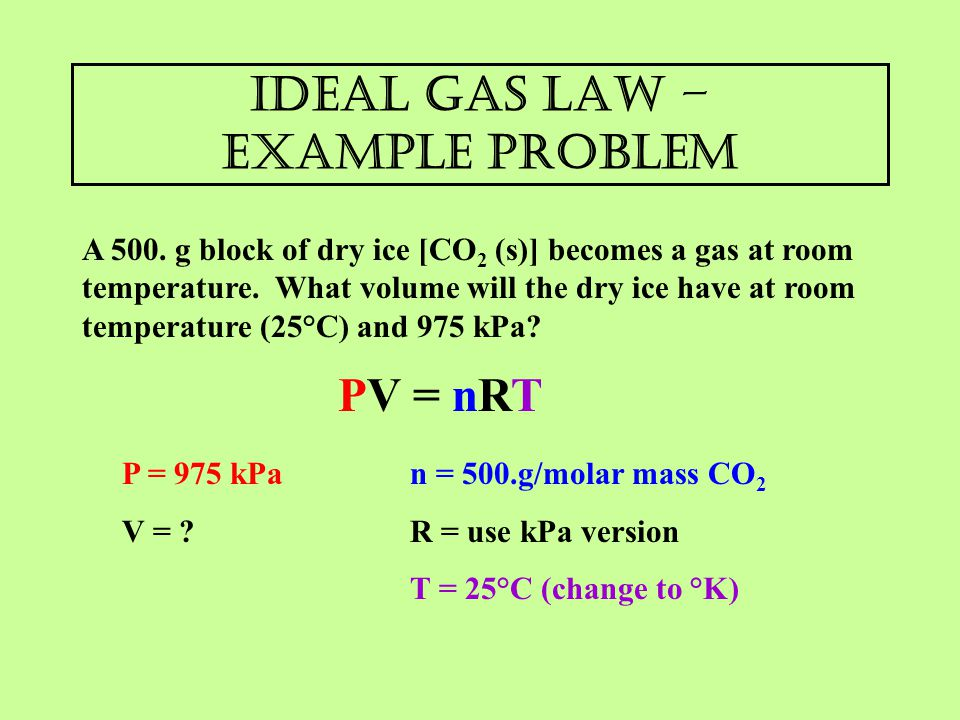 Ideal gas law – example problem