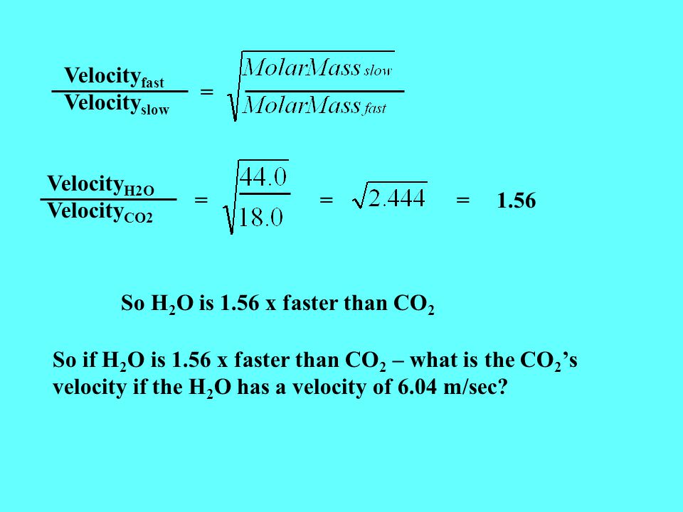 Velocityfast Velocityslow. = VelocityH2O. VelocityCO2. = = = 1.56. So H2O is 1.56 x faster than CO2.