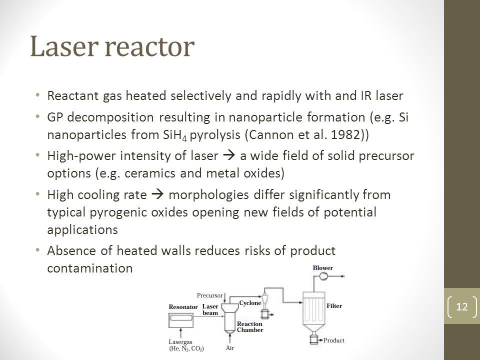 Laser reactor Reactant gas heated selectively and rapidly with and IR laser.