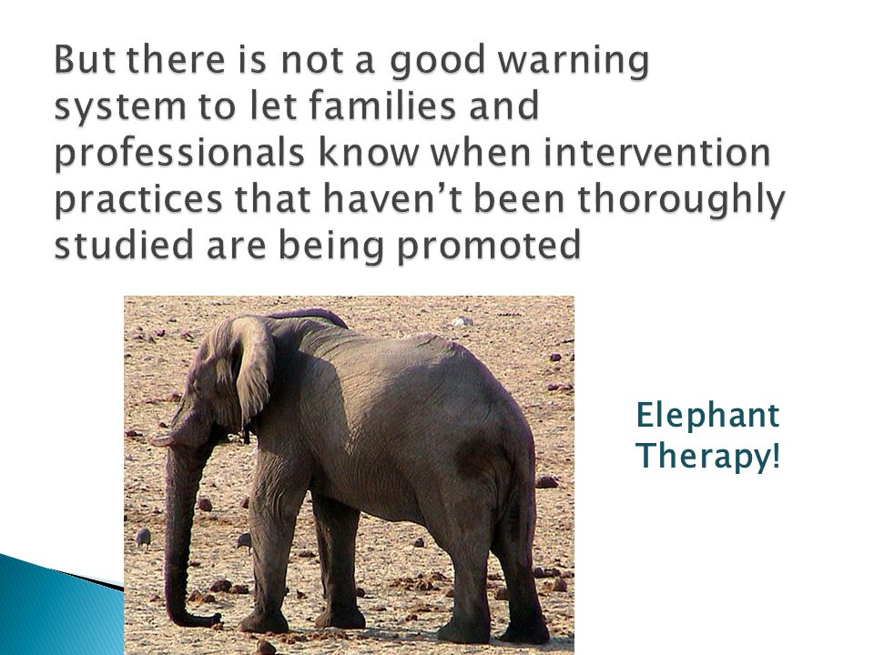 But there is not a good warning system to let families and professionals know when intervention practices that haven't been thoroughly studied are being promoted