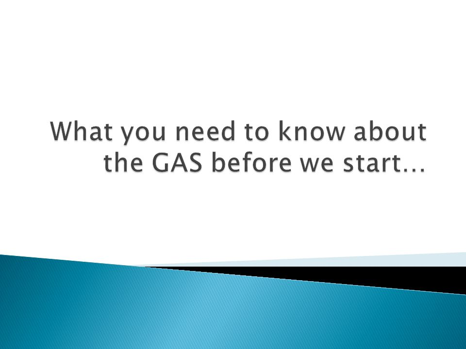 What you need to know about the GAS before we start…