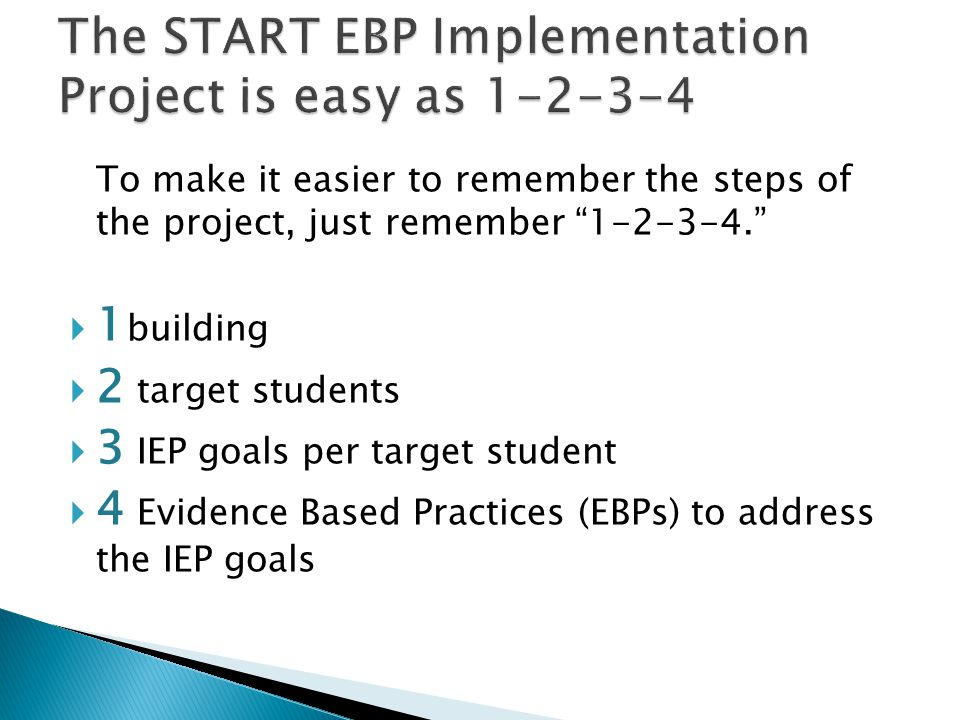 The START EBP Implementation Project is easy as 1-2-3-4