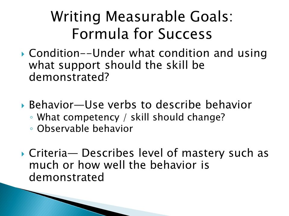 Writing Measurable Goals: