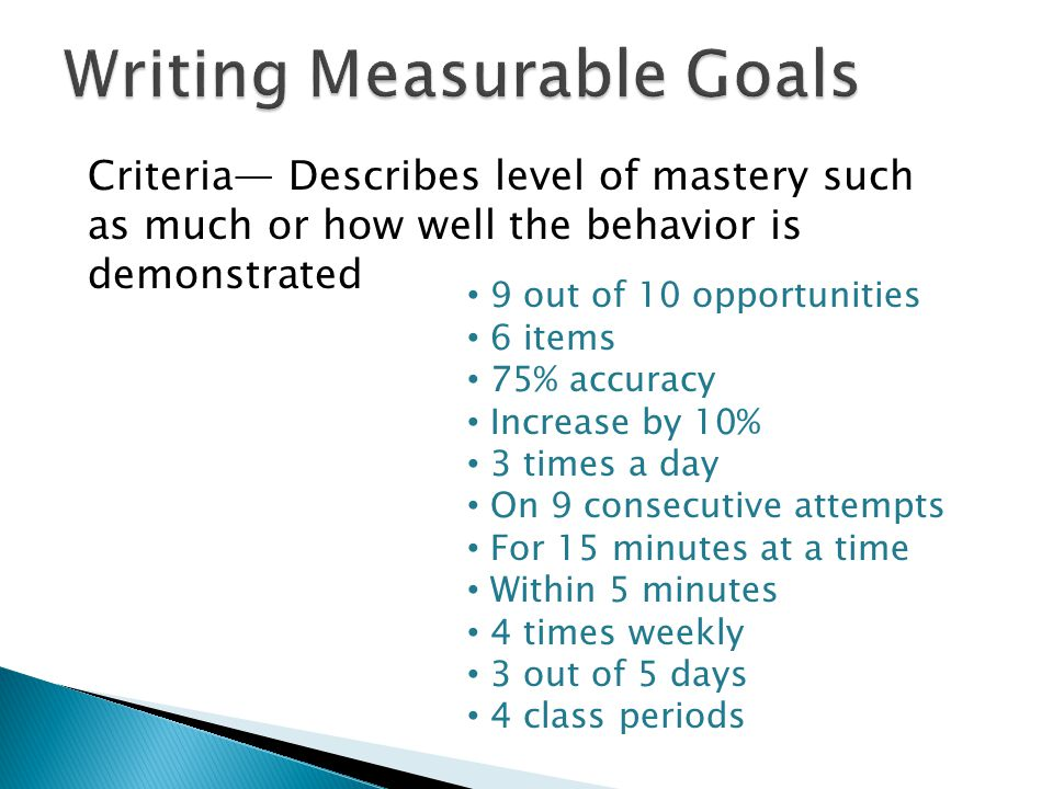 Writing Measurable Goals