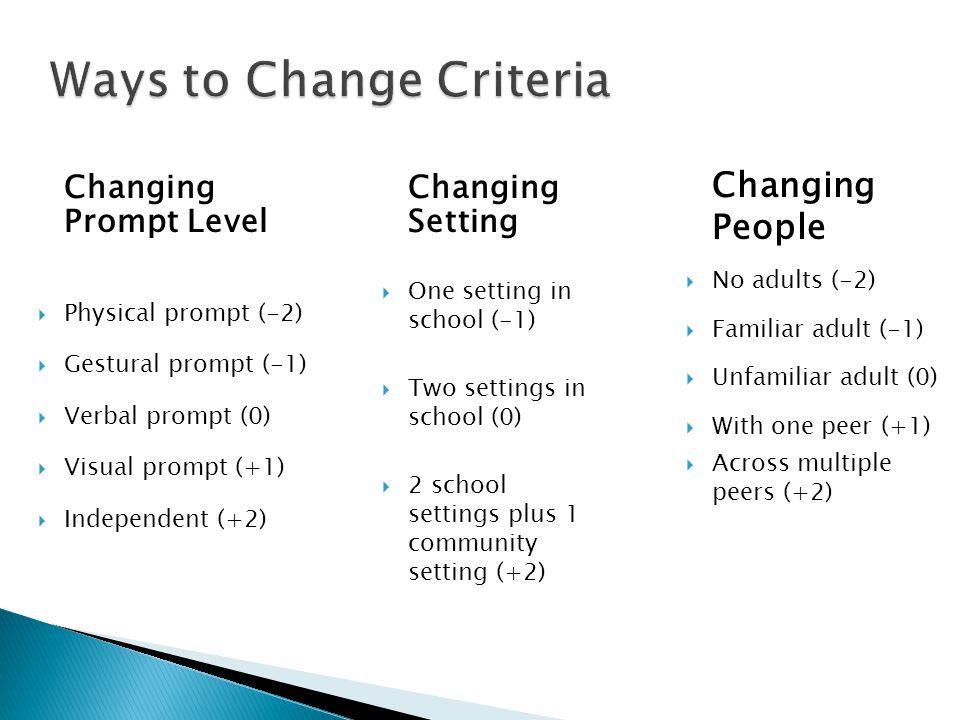 Ways to Change Criteria