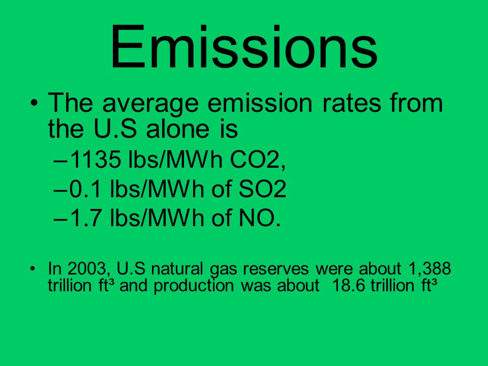 Emissions The average emission rates from the U.S alone is