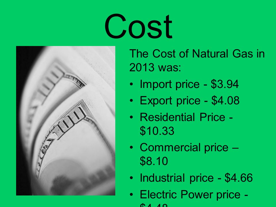 Cost The Cost of Natural Gas in 2013 was: Import price - $3.94