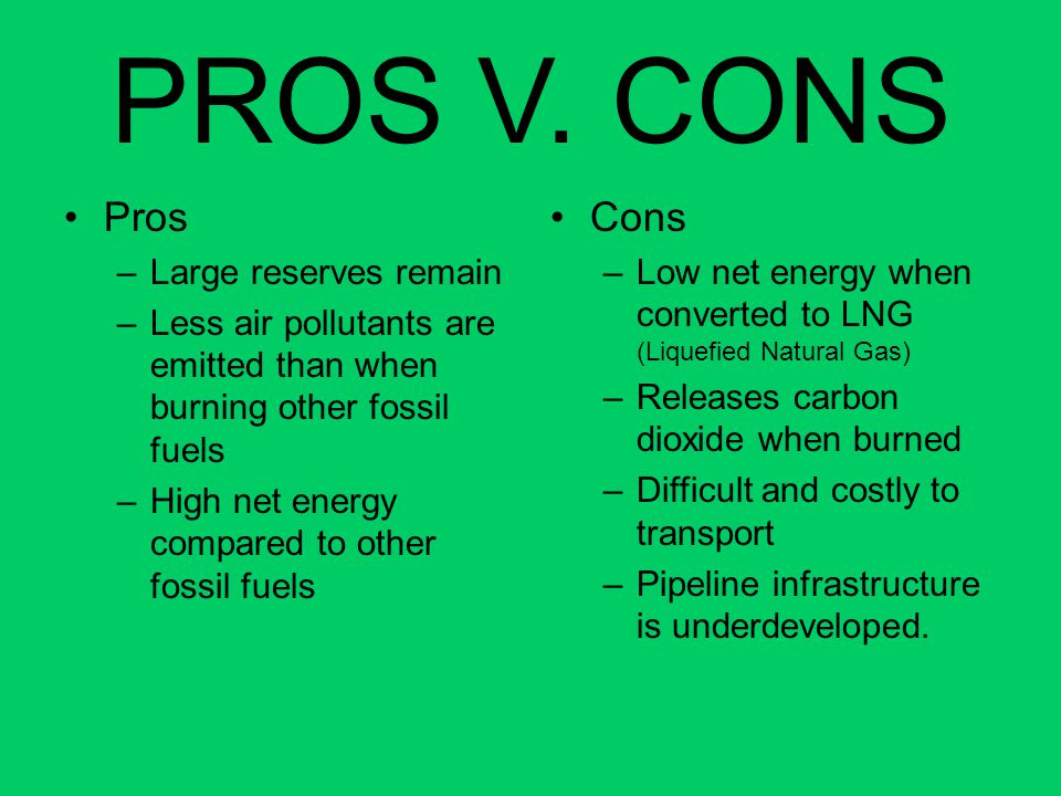 PROS V. CONS Pros Cons Large reserves remain