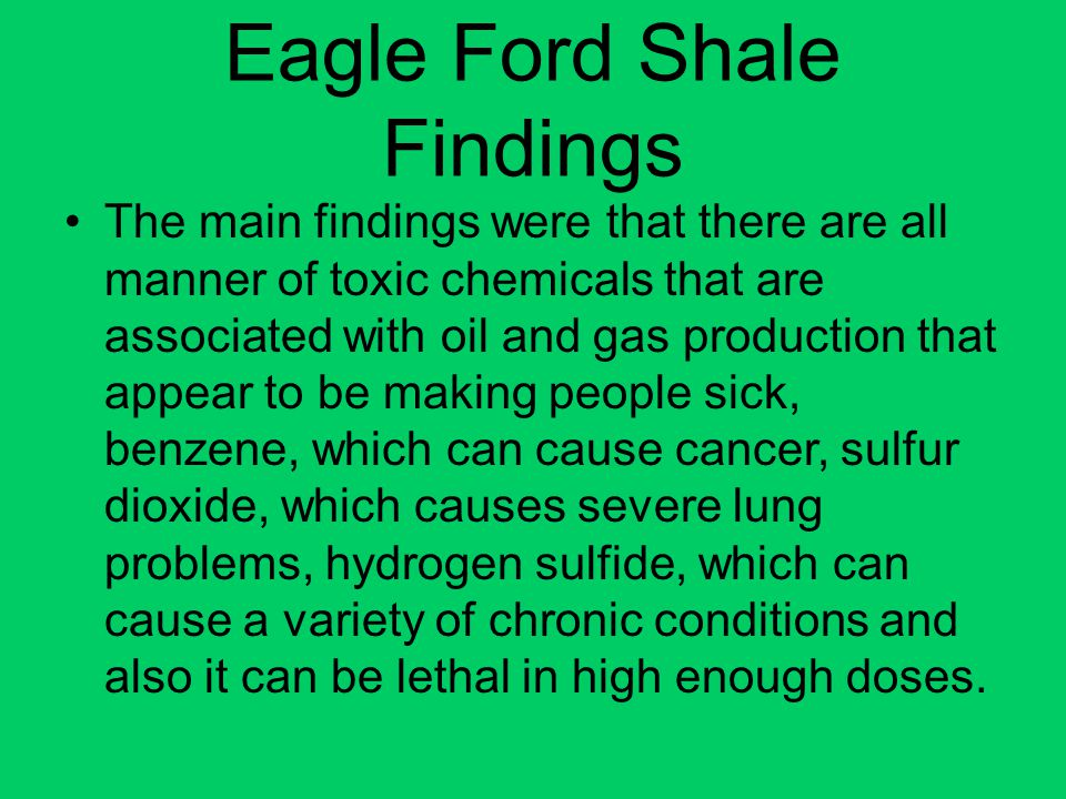 Eagle Ford Shale Findings
