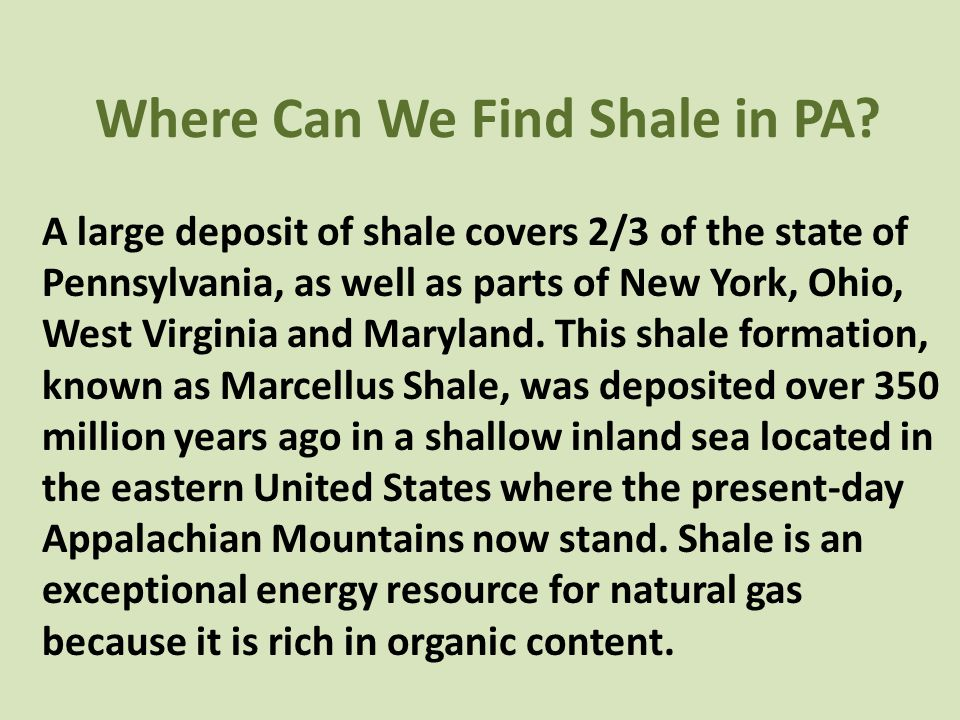 Where Can We Find Shale in PA