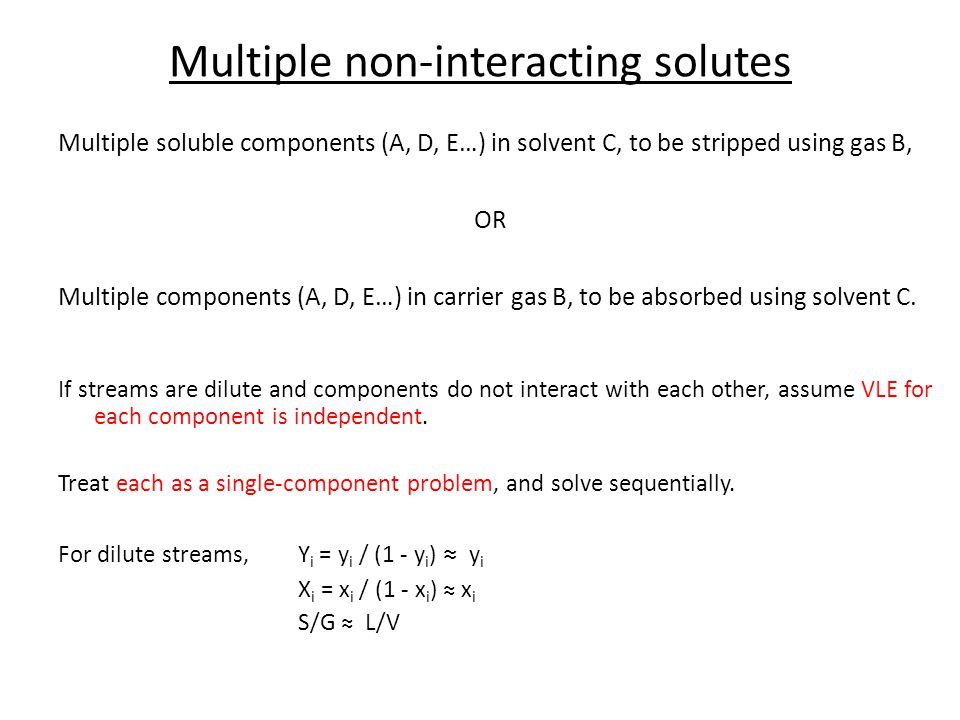 Multiple non-interacting solutes