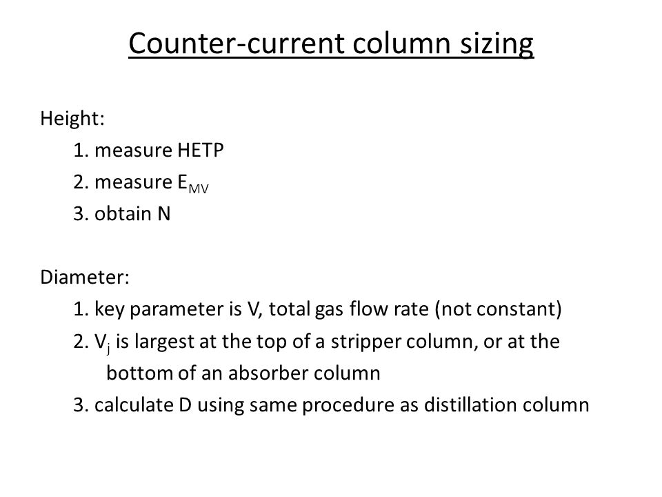 Counter-current column sizing