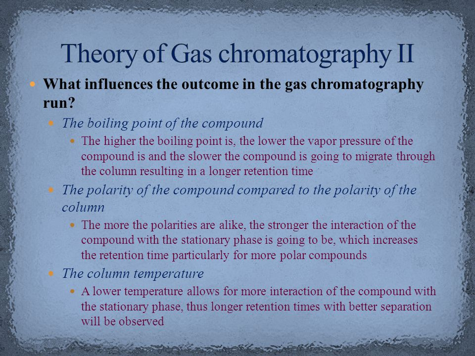 Theory of Gas chromatography II