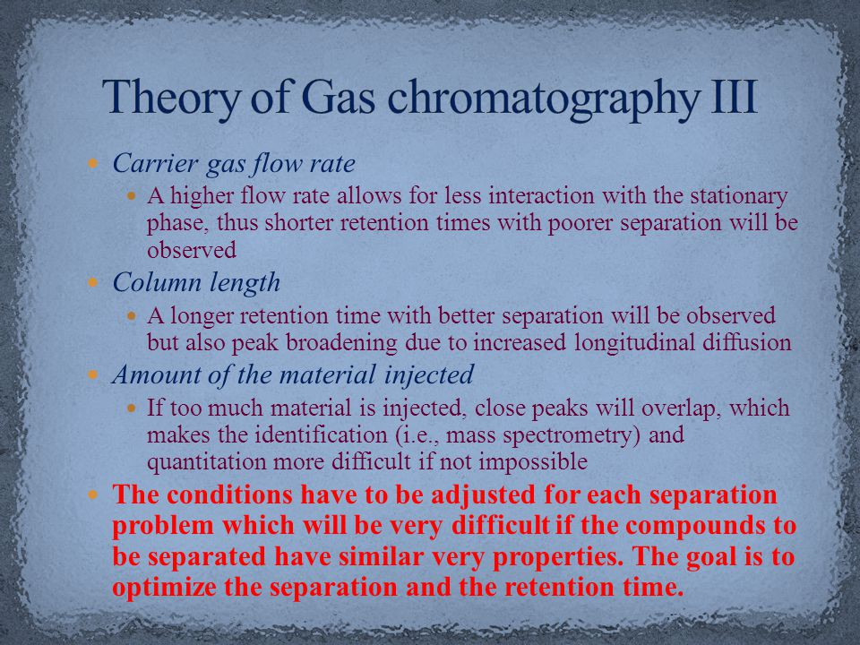 Theory of Gas chromatography III